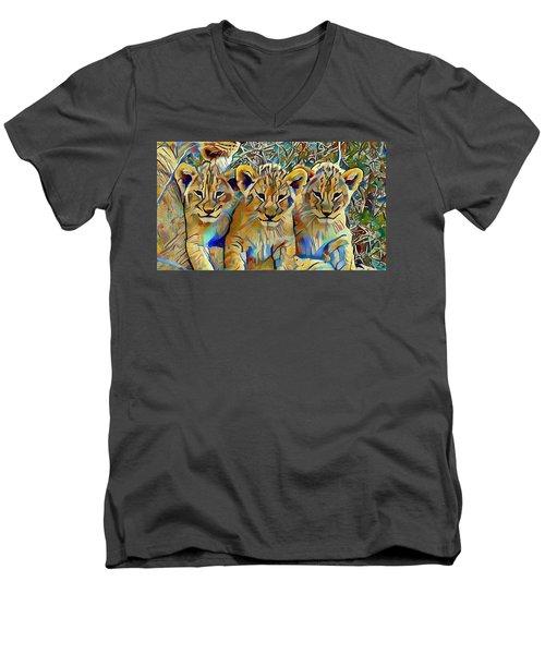 Lion Cubs Men's V-Neck T-Shirt