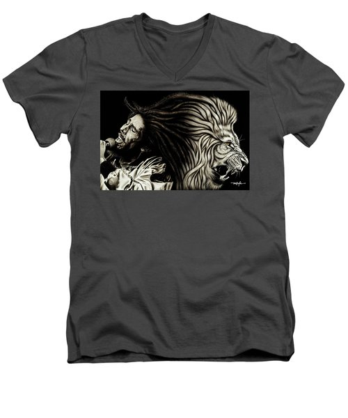 Lion Heart -bob Marley Men's V-Neck T-Shirt