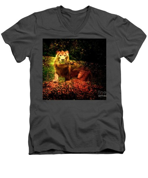 Men's V-Neck T-Shirt featuring the photograph Lion In The Wilderness by Annie Zeno