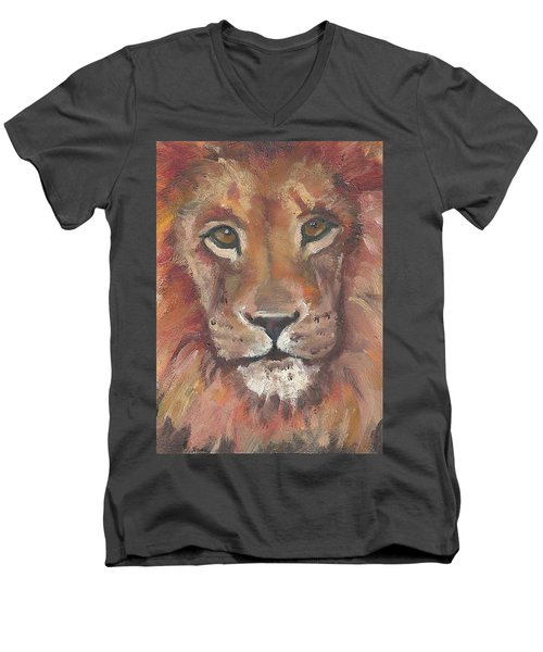Lion Men's V-Neck T-Shirt by Jessmyne Stephenson