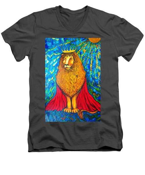 Men's V-Neck T-Shirt featuring the painting Lion-king by Rae Chichilnitsky