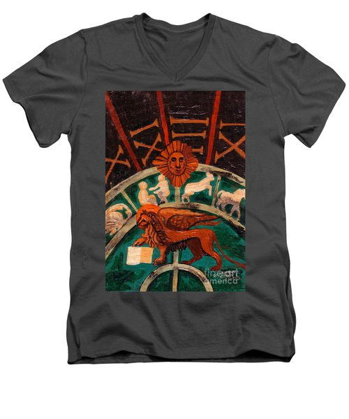 Men's V-Neck T-Shirt featuring the painting Lion Of St. Mark by Genevieve Esson