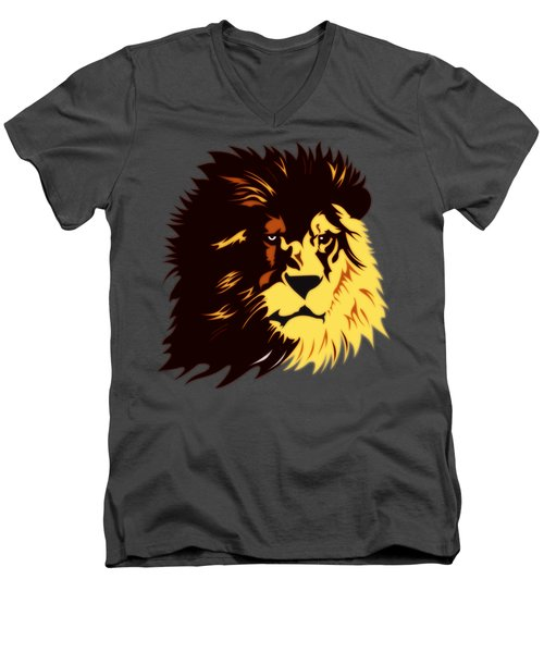 Lion Print Men's V-Neck T-Shirt