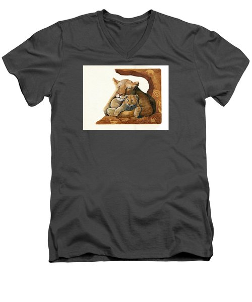 Lion - Protect Our Children Painting Men's V-Neck T-Shirt by Linda Apple
