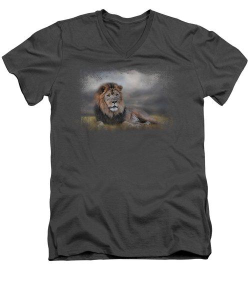 Lion Waiting For The Storm Men's V-Neck T-Shirt by Jai Johnson