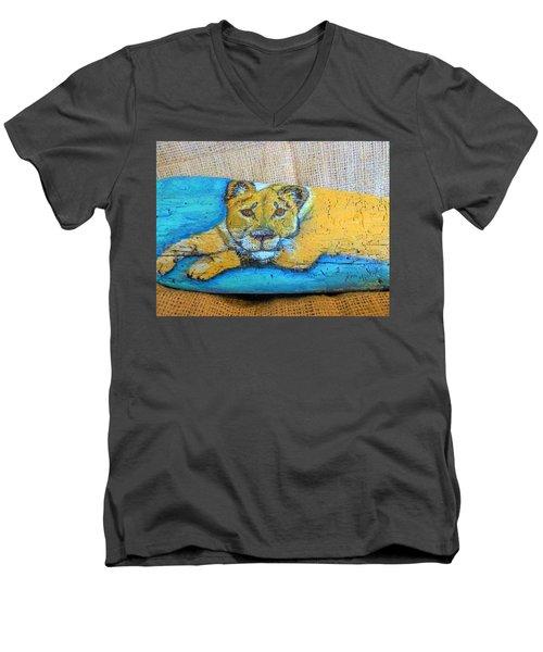 Lioness Men's V-Neck T-Shirt by Ann Michelle Swadener