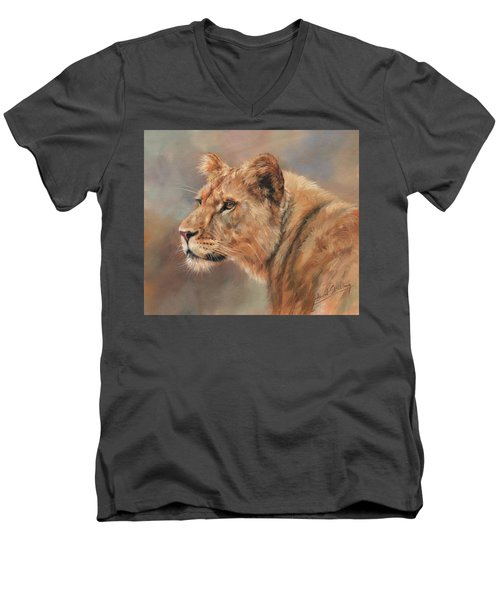 Men's V-Neck T-Shirt featuring the painting Lioness Portrait by David Stribbling