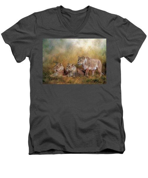 Lionesses Watching The Herd Men's V-Neck T-Shirt