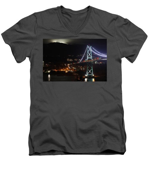 Lions Gate Bridge And Grouse Mountain Men's V-Neck T-Shirt