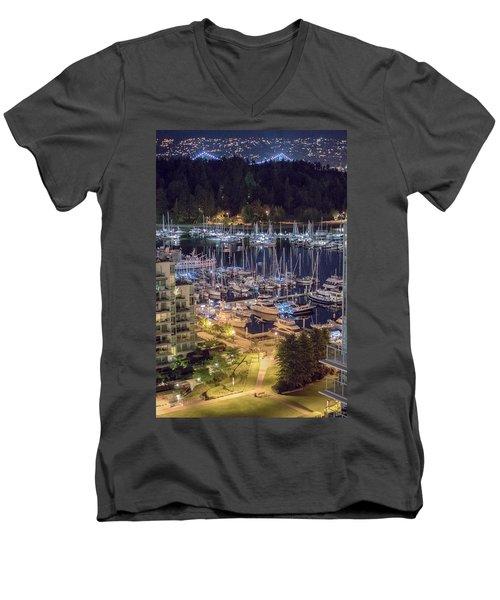 Lions Gate Bridge And Stanley Park Men's V-Neck T-Shirt by Ross G Strachan