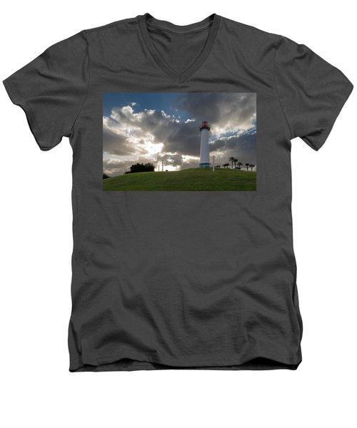 Lion's Lighthouse For Sight - 2 Men's V-Neck T-Shirt by Ed Clark