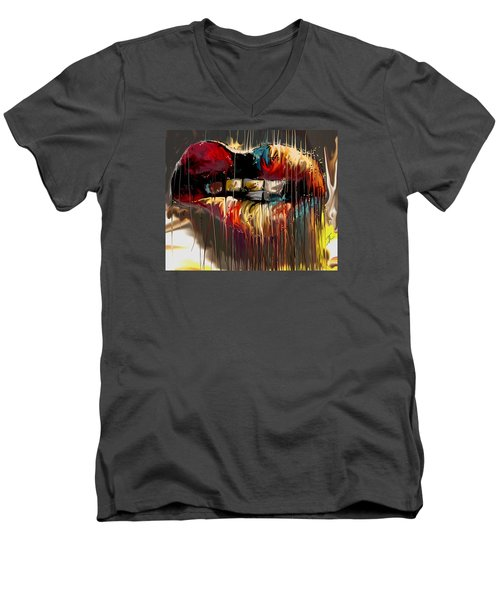 Lips Say It All Men's V-Neck T-Shirt by Darren Cannell