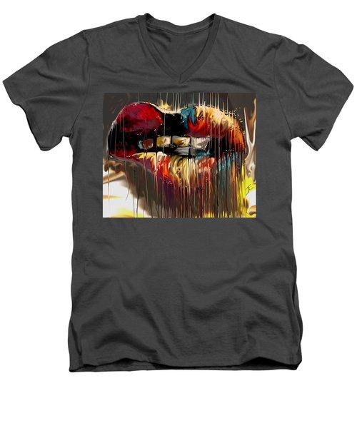 Lips Say It All Men's V-Neck T-Shirt