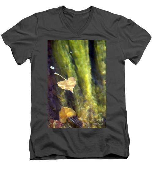 Liquid Leaves 1 Men's V-Neck T-Shirt by Alycia Christine
