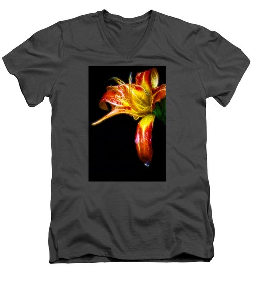Men's V-Neck T-Shirt featuring the photograph Liquid Lily by Cameron Wood