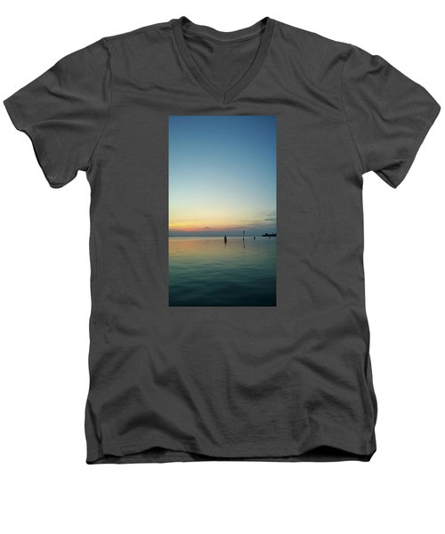 Men's V-Neck T-Shirt featuring the photograph Liquid Sunset by Anne Kotan