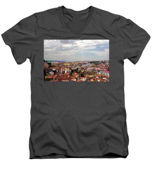 Men's V-Neck T-Shirt featuring the photograph Lisbon's Chaos Of Color by Lorraine Devon Wilke