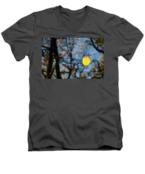 Men's V-Neck T-Shirt featuring the photograph Lit Lone Leaf by Kennerth and Birgitta Kullman