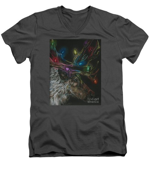 Men's V-Neck T-Shirt featuring the drawing Lit Up by Meagan  Visser