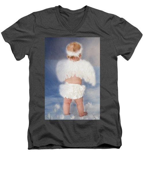Little Angel Men's V-Neck T-Shirt by Linda Segerson