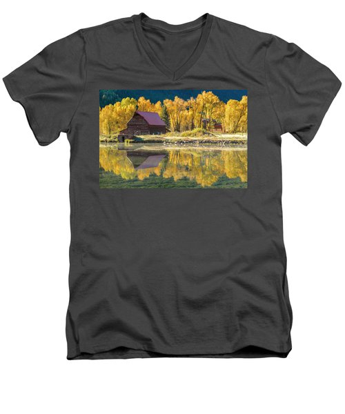 Little Barn By The Lake Men's V-Neck T-Shirt by Teri Virbickis