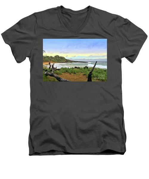 Men's V-Neck T-Shirt featuring the photograph Little Beach by DJ Florek