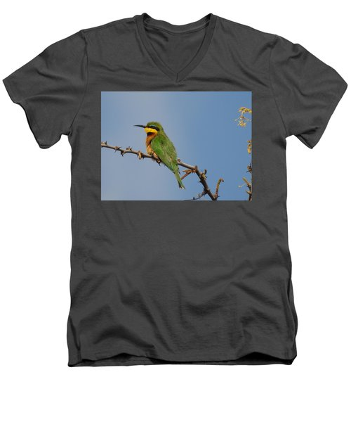 Men's V-Neck T-Shirt featuring the photograph Little Bee-eater by Betty-Anne McDonald