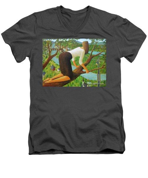 Little Bird Men's V-Neck T-Shirt by Glenn Quist