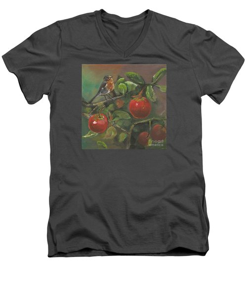 Little Bird In The Apple Tree Men's V-Neck T-Shirt