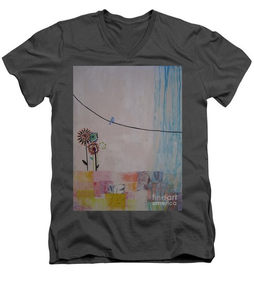 Men's V-Neck T-Shirt featuring the painting Little Birdie by Ashley Price