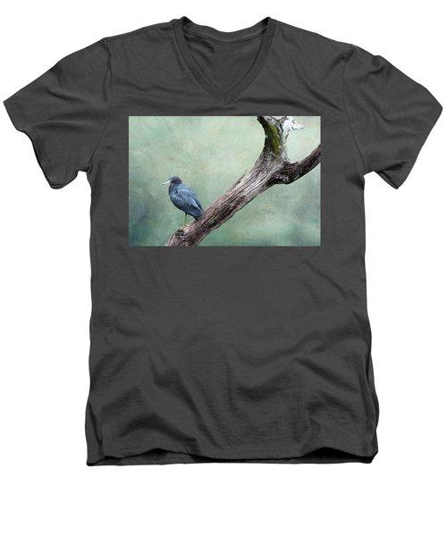 Little Blue Heron On Green Men's V-Neck T-Shirt
