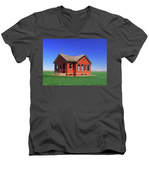 Little Brick School House Men's V-Neck T-Shirt by Christopher McKenzie