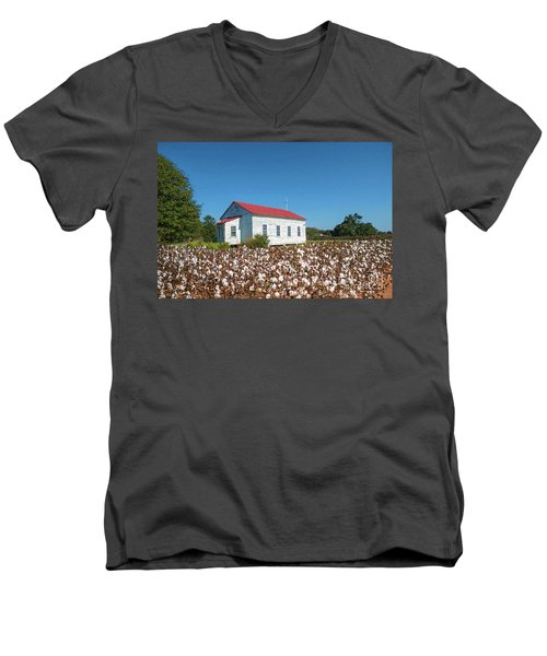 Men's V-Neck T-Shirt featuring the photograph Little Church In The Cotton Field by Bonnie Barry