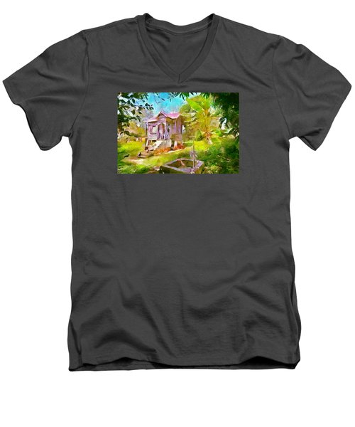 Caribbean Scenes - Little Country House Men's V-Neck T-Shirt by Wayne Pascall