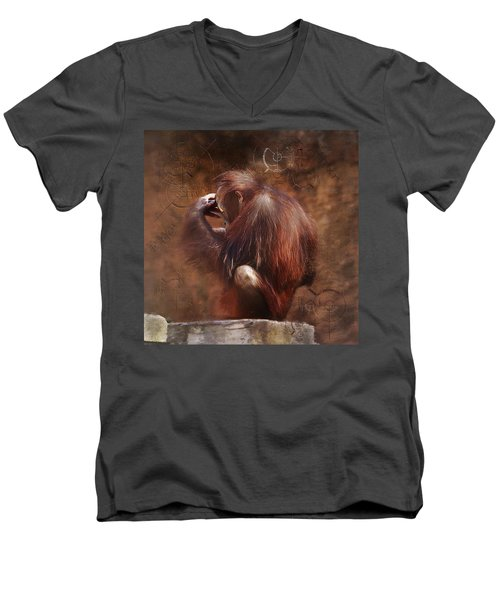 Men's V-Neck T-Shirt featuring the photograph Little Einstein by Sharon Jones