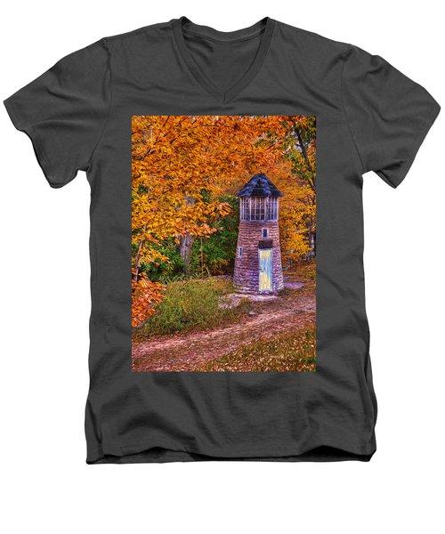 Little Falls Autumn Lighthouse Men's V-Neck T-Shirt