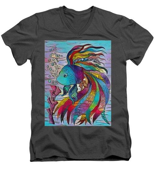 Little Fish 3 Men's V-Neck T-Shirt by Megan Walsh