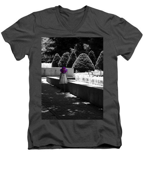 Little Girl In Magenta Hat Black And White Selective Color Men's V-Neck T-Shirt