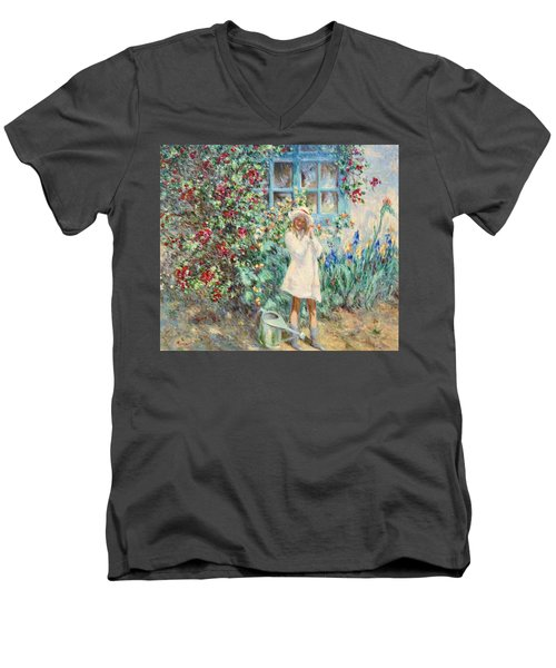 Little Girl With Roses  Men's V-Neck T-Shirt