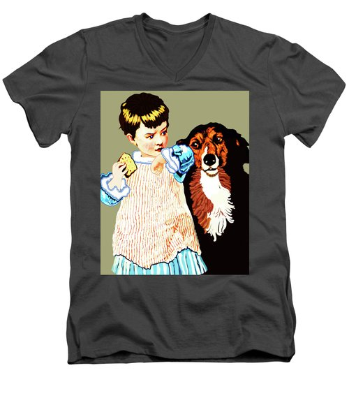 Little Girl With Hungry Mutt Men's V-Neck T-Shirt