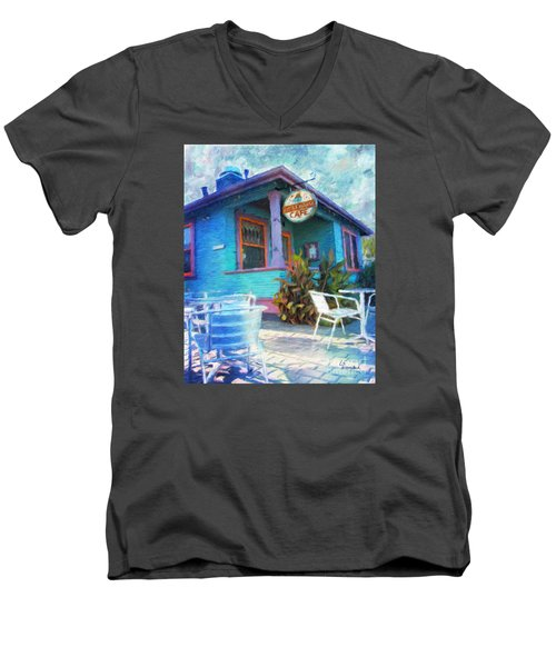 Little House Cafe  Men's V-Neck T-Shirt by Linda Weinstock