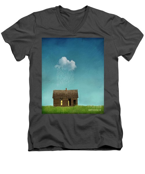 Men's V-Neck T-Shirt featuring the photograph Little House Of Sorrow by Juli Scalzi