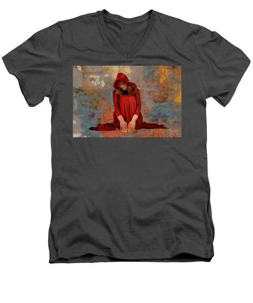 Men's V-Neck T-Shirt featuring the mixed media Little Mel Riding Hood by Trish Tritz