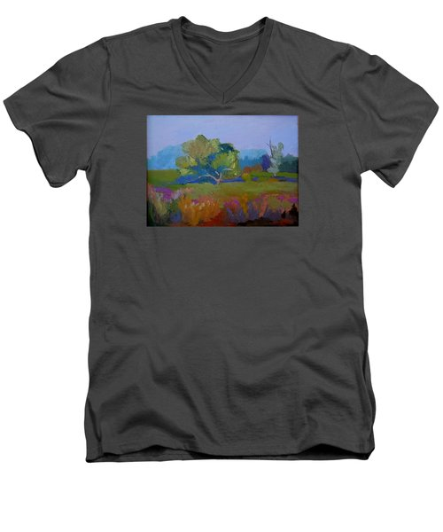 Men's V-Neck T-Shirt featuring the painting Little Miami Meadow by Francine Frank