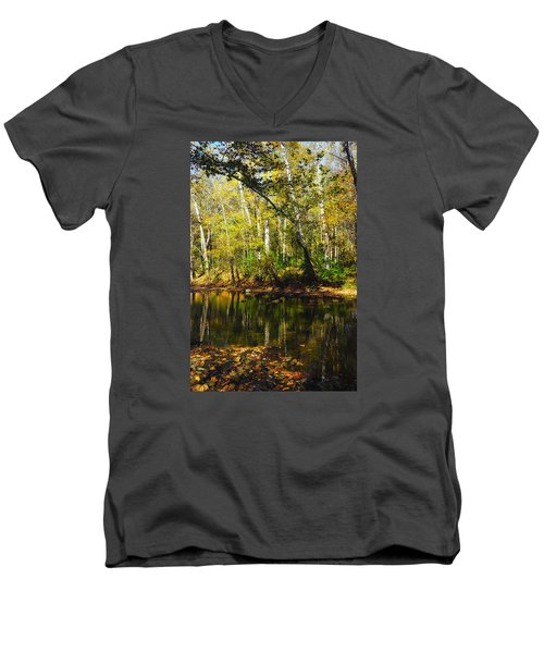 Little Miami River Men's V-Neck T-Shirt by Beth Akerman