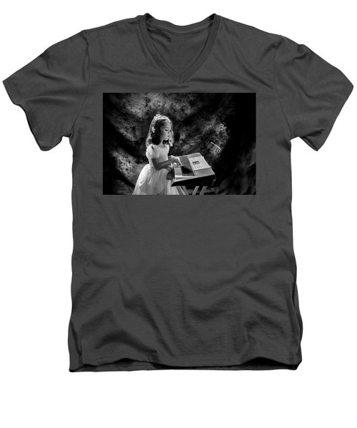 Little Musician Men's V-Neck T-Shirt by Kevin Cable