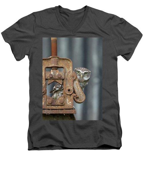 Little Owl Peeking Men's V-Neck T-Shirt