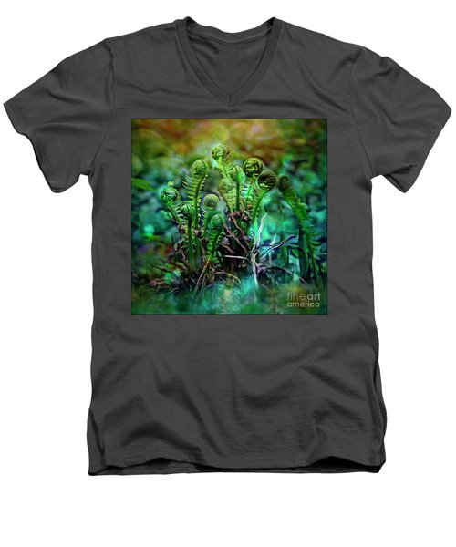 Little Planet Men's V-Neck T-Shirt by Agnieszka Mlicka