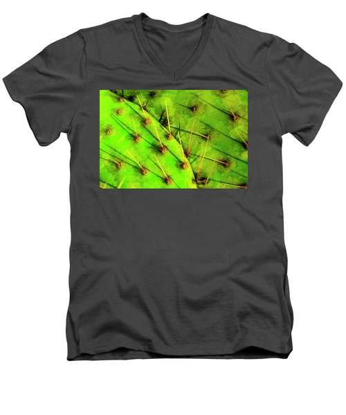 Men's V-Neck T-Shirt featuring the photograph Prickly Pear by Paul Wear