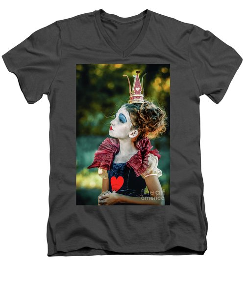 Men's V-Neck T-Shirt featuring the photograph Little Princess Of Hearts Alice In Wonderland by Dimitar Hristov